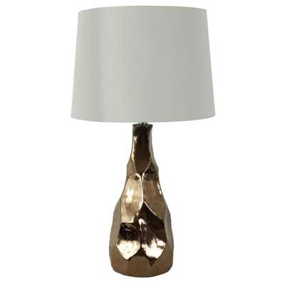 Decor Therapy 29 in. Sena Sculpted Metallic Gold Ceramic Table Lamp with Shade - Home Depot