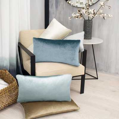 Lucas Navy (Blue) Lumbar Velvet 2-Piece Decorative Pillow Set - Home Depot