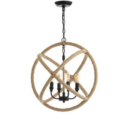 "Leticia 4-Light 20"" Adjustable Globe Metal/Rope Led Chandelier, Black/Brown - Wayfair"