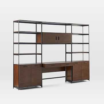 Foundry Wide Bookcase + Desk Set, Dark Walnut - West Elm