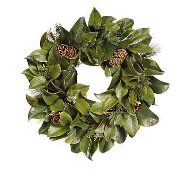 "Faux Magnolia Leaf & Pine Wreath, Green - 24"" - Pottery Barn"