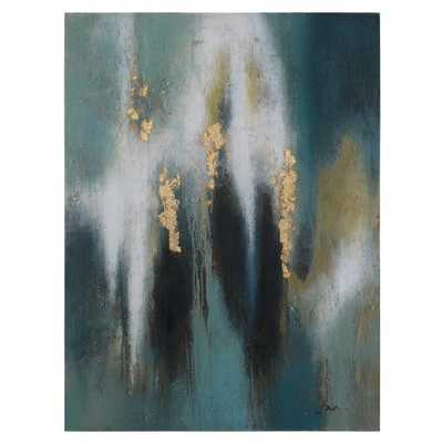 """48 in. H x 36 in. W """"Jay"""" Artwork in Synthetic Fabric Canvas Wall Art, Multi - Home Depot"""