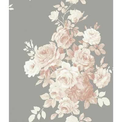 56 sq.ft. Tea Rose Wallpaper, Grey - Home Depot