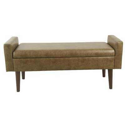 Winston Porter Fulton Storage Bench - Distressed Brown Faux Leather - Wayfair