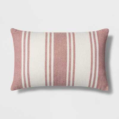 Woven Stripe Lumbar Throw Pillow White/Red - Threshold - Target
