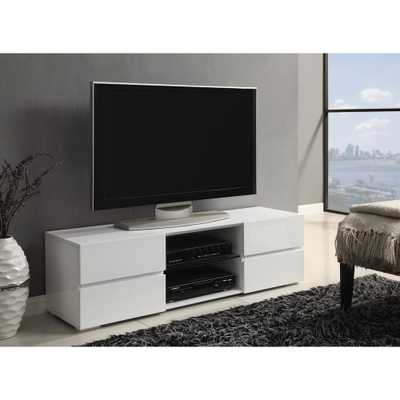 Coaster 4-Drawer TV Console Glossy White - Home Depot