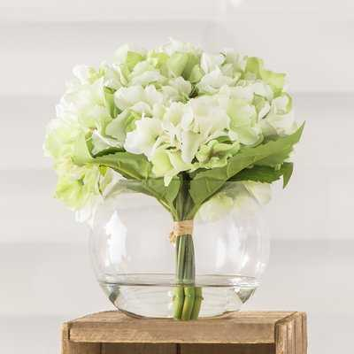 Hydrangea Floral Arrangement in Glass Vase - Birch Lane