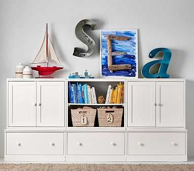 Cameron 2 Cabinets, 1 Bookcase Cubby, & 3 Drawer Bases, Charcoal, Flat Rate - Pottery Barn Kids