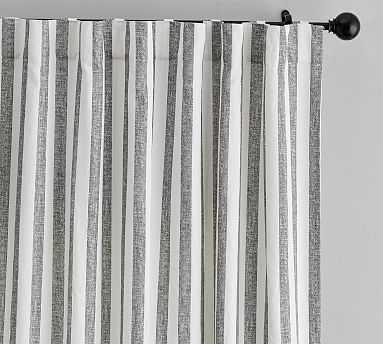 "Eden Stripe Curtain Set of 2 , 84"", Gray - Pottery Barn"