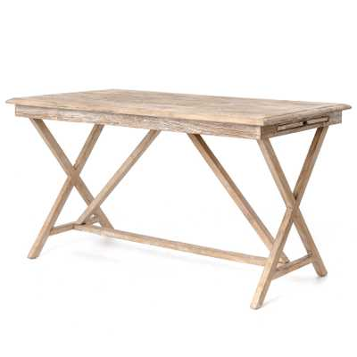 Cyril French Country Rustic White Wash Wood Desk - Kathy Kuo Home