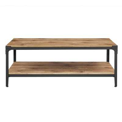 Angle Iron Barnwood Storage Coffee Table - Home Depot