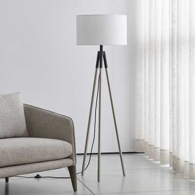 Hyde Black and Nickel Metal Tripod Floor Lamp - Crate and Barrel