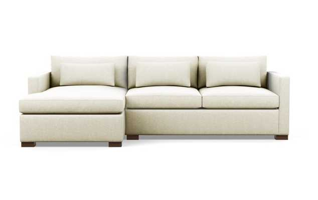 Charly Sectionals with Vanilla Fabric and Oiled Walnut legs - Interior Define