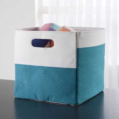 Color Block Teal Cube Storage Bin - Crate and Barrel