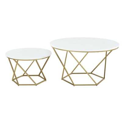 Geometric White Marble/Gold Nesting Coffee Tables, Faux White Marble/Gold - Home Depot