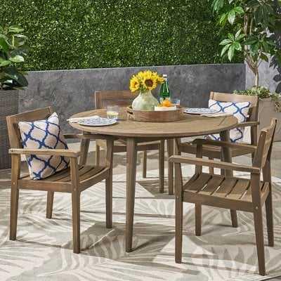 Sir Outdoor Acacia Wood 5 Piece Dining Set - Wayfair