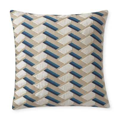 """Harwich Embroidered Applique Linen Pillow Cover, 22"""" X 22"""", Navy - Williams Sonoma"""