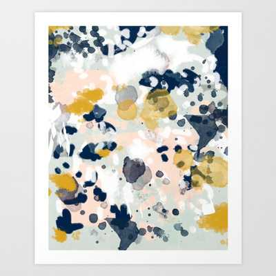 Noel - navy mint gold painted abstract brushstrokes minimal modern canvas art painting Art Print - X-Large by Charlottewinter - Society6