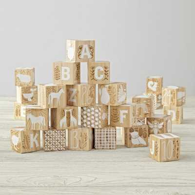 Etched Wooden Blocks - Crate and Barrel