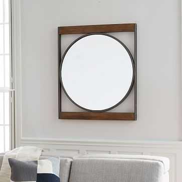 Industrial Metal Wood Round Wall Mirror - West Elm
