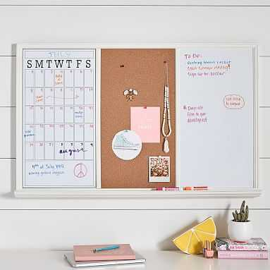 Study Wall Boards, Set of 3, White Frame Triple - Pottery Barn Teen