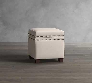 Tamsen Upholstered Cube Storage Ottoman, Premium Performance Basketweave Pebble - Pottery Barn