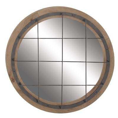 Rustic Round Grid-Patterned Wall Mirror - Wayfair