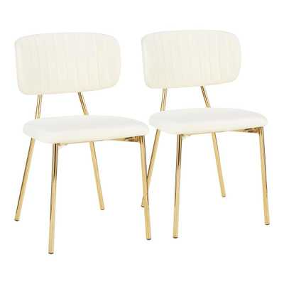 Lumisource Bouton Gold and Cream Velvet Dining Chair (Set of 2), Ivory - Home Depot