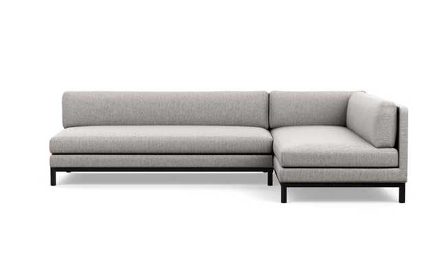 Jasper Chaise Sectional with Earth Fabric and Matte Black legs - Interior Define