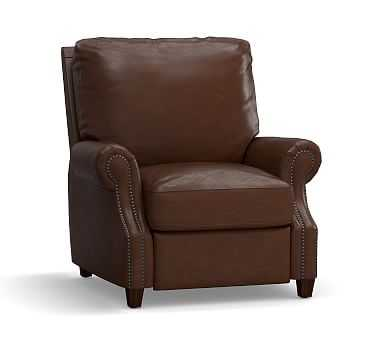 James Leather Recliner, Down Blend Wrapped Cushions, Legacy Chocolate - Pottery Barn