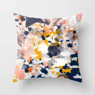 """Stella - Abstract painting in modern fresh colors navy, orange, pink, cream, white, and gold Throw Pillow - Indoor Cover (20"""" x 20"""") with pillow - Society6"""
