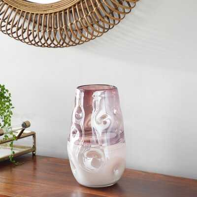 """Small, Round Dimpled Translucent And Pastel Pink Vase, 6.25"""" X 11 - Wayfair"""