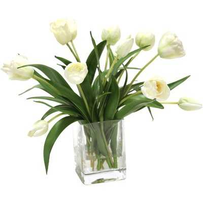 Waterlook Elegant Tulips Floral Arrangements in Glass Vase - Birch Lane