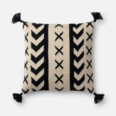 """PILLOWS - BLACK / IVORY - 18"""" X 18"""" Cover Only - Loma Threads"""