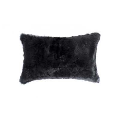 Rabbit Fur 12 in. x 20 in. Black Pillow - Home Depot