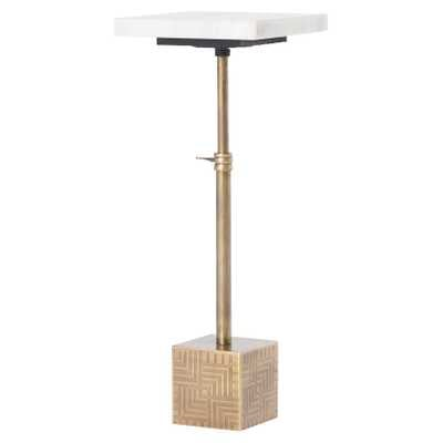 Hauer Industrial Gold Metal Cube Marble Adjustable Height End Table - Kathy Kuo Home