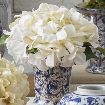 Crème Hydrangea Floral Arrangement in Chinoiserie Vase - Birch Lane