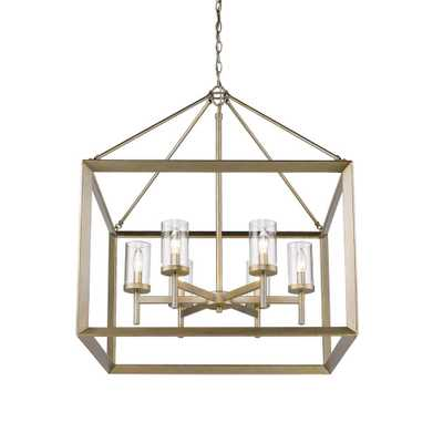 Golden Lighting Smyth 6-Light White Gold Chandelier with Clear Glass Shade - Home Depot