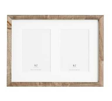 Wood Gallery 2-Opening Frame, 5x7 - Gray - Pottery Barn