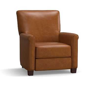 Irving Leather Recliner, Polyester Wrapped Cushions, Leather Vintage Caramel - Pottery Barn