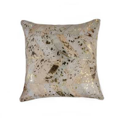 Torino Chevron Cowhide 18 in. x 18 in. Natural and Gold Pillow, Natural & Gold - Home Depot