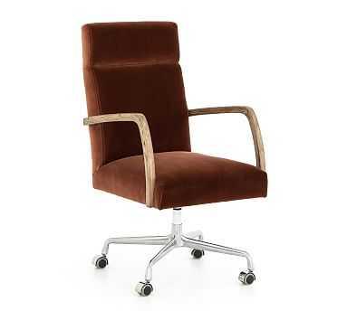 Masterson Velvet Desk Chair, Oak, Rust - Pottery Barn