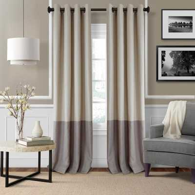 Elrene Braiden 52 in. W x 95 in. L Blackout Grommet Single Curtain Panel in Linen - Home Depot