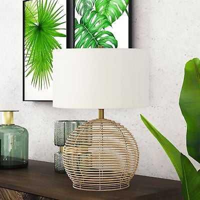 Bryn Modern Coastal Table Lamp in Rattan - eBay