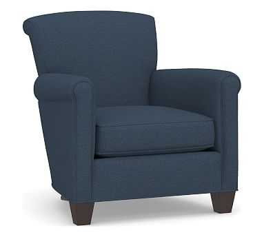 Irving Upholstered Armchair, Polyester Wrapped Cushions, Brushed Crossweave Navy - Pottery Barn
