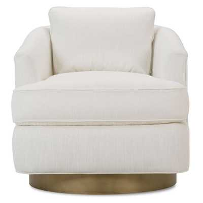 Ophelia Modern Classic White Upholstered Gold Brass Base Swivel Arm Chair - Kathy Kuo Home