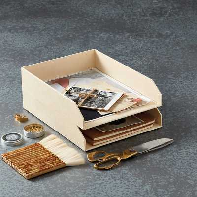 Elisa Office File Letter Trays - Set of 2 Cream  - Ballard Designs - Ballard Designs