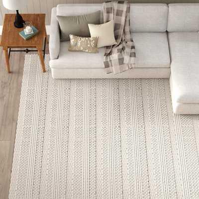 Jocelyn Handmade Flatweave Wool White/Charcoal Area Rug - AllModern