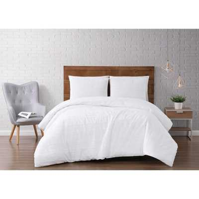 Carlisle Stripe 3-Piece White Full/Queen Duvet Cover Set - Home Depot