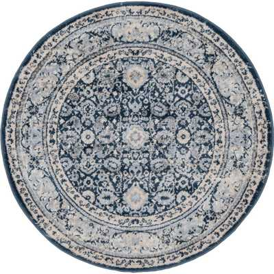 Unique Loom Leila Birch Navy Blue 6 ft. x 6 ft. Round Rug - Home Depot